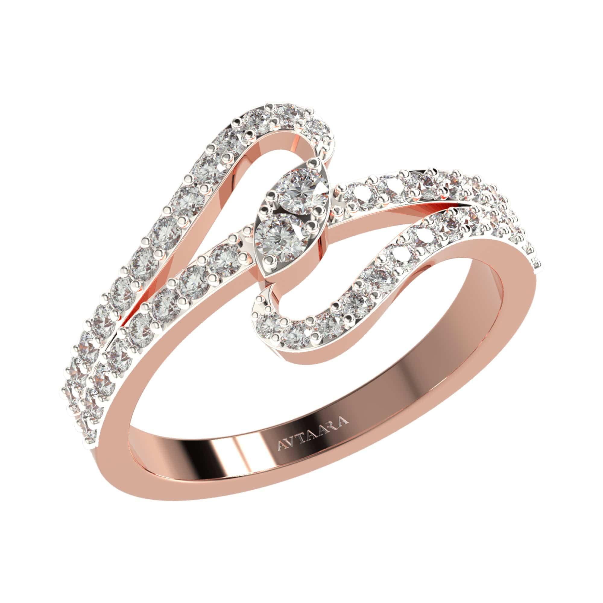 rose gold designer diamond ring