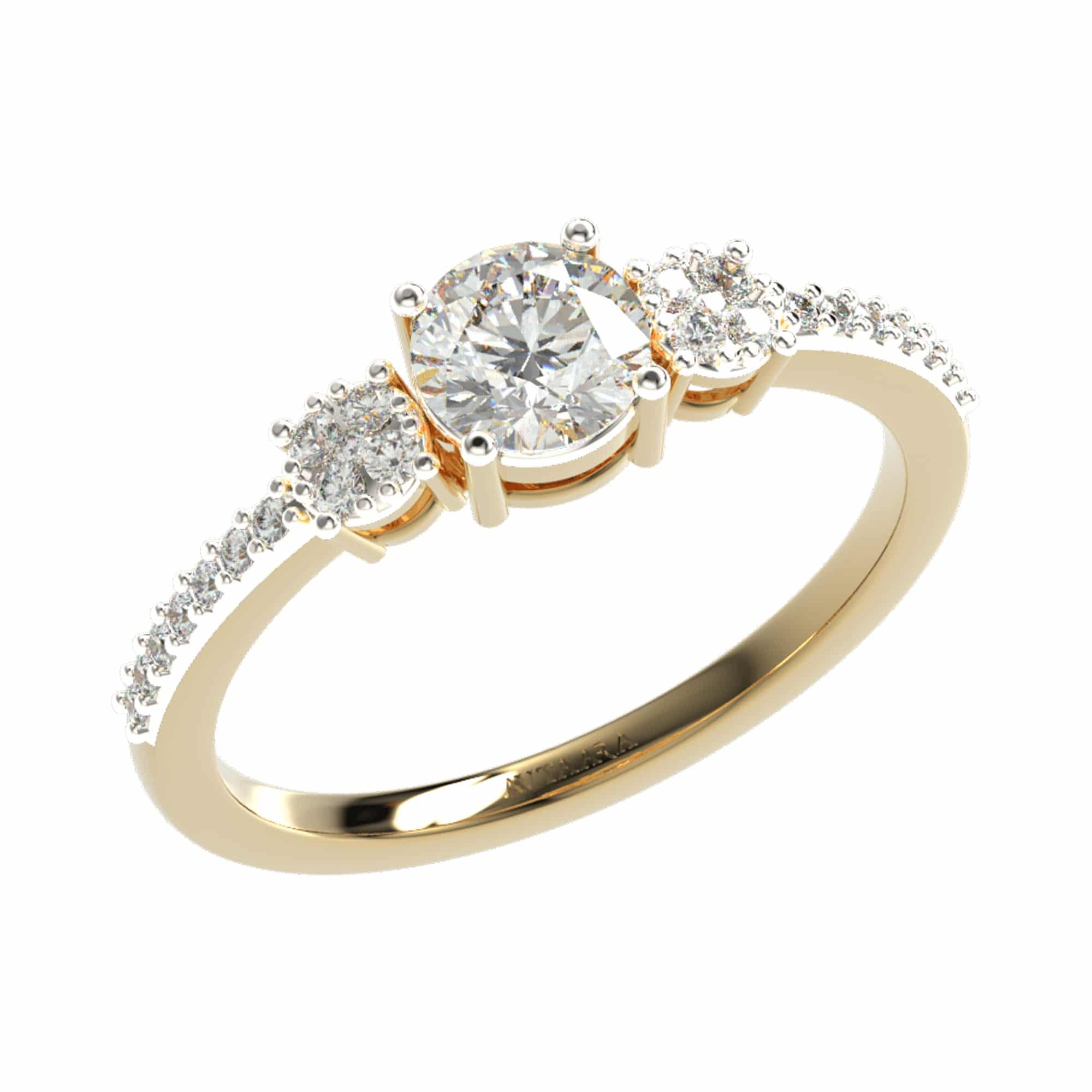 Yellow gold classic diamond ring