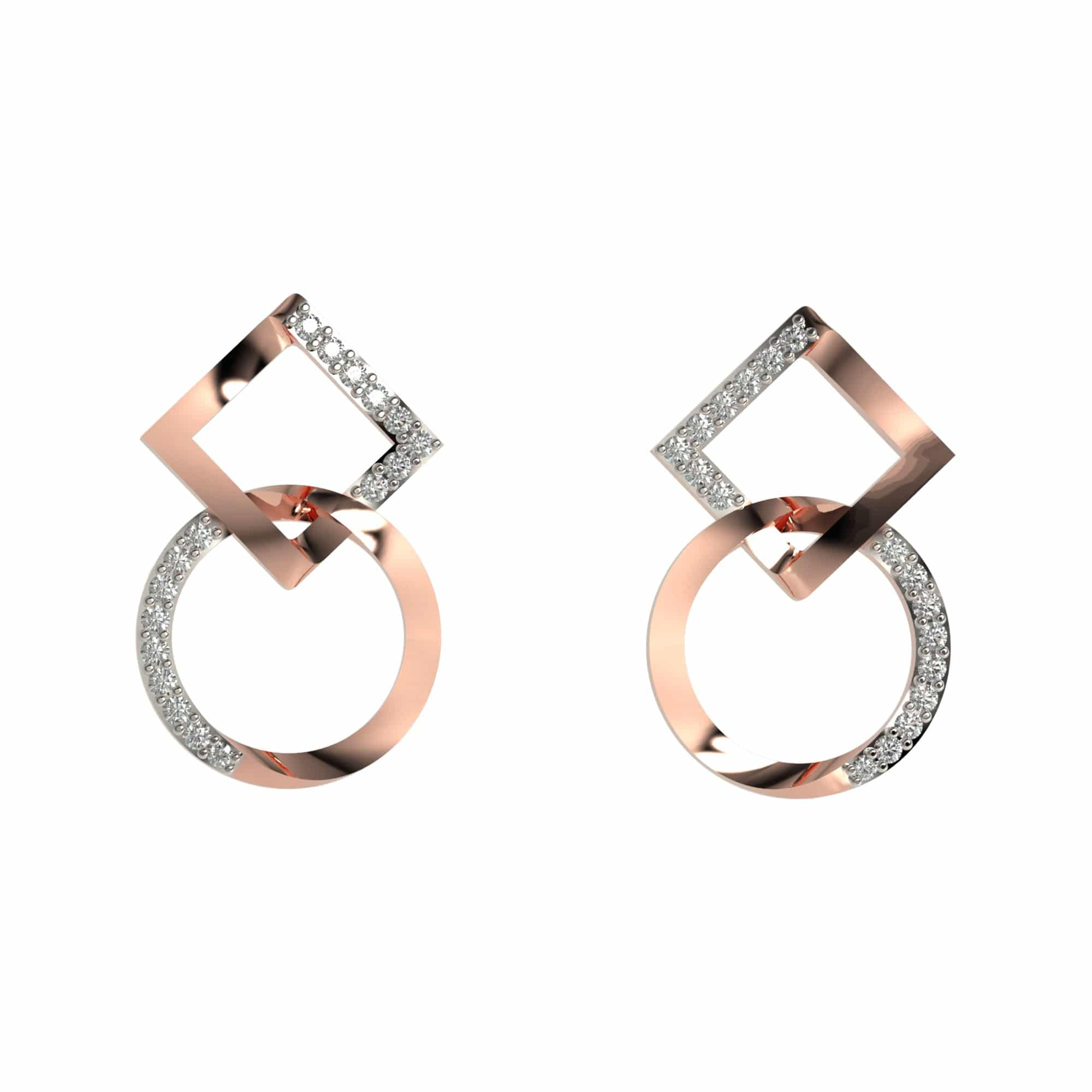 Geometric lock earrings